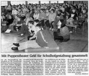 Mit Puppentheater Geld für Schulhofgestaltung gesammelt